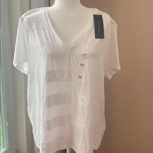 Tommy Hilfiger 100% cotton White sequin tees